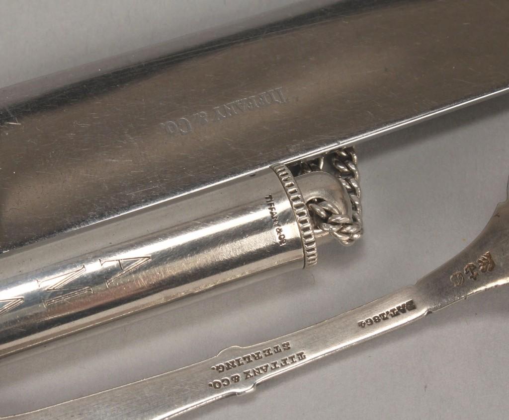 Lot 754: Sterling Tiffany Items: pen light, Medallion spoon