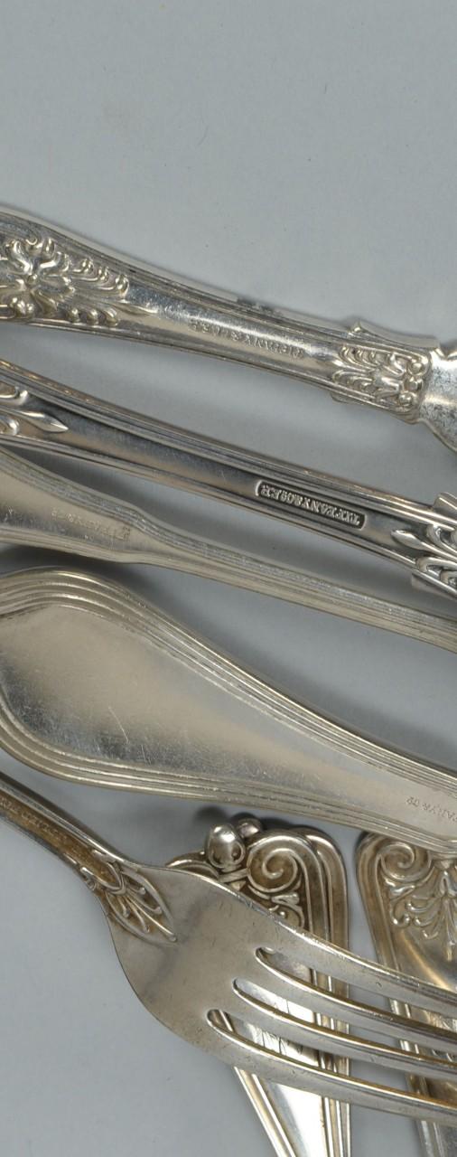 Lot 761: Tiffany Silverplate Flatware plus early Gorham Ste