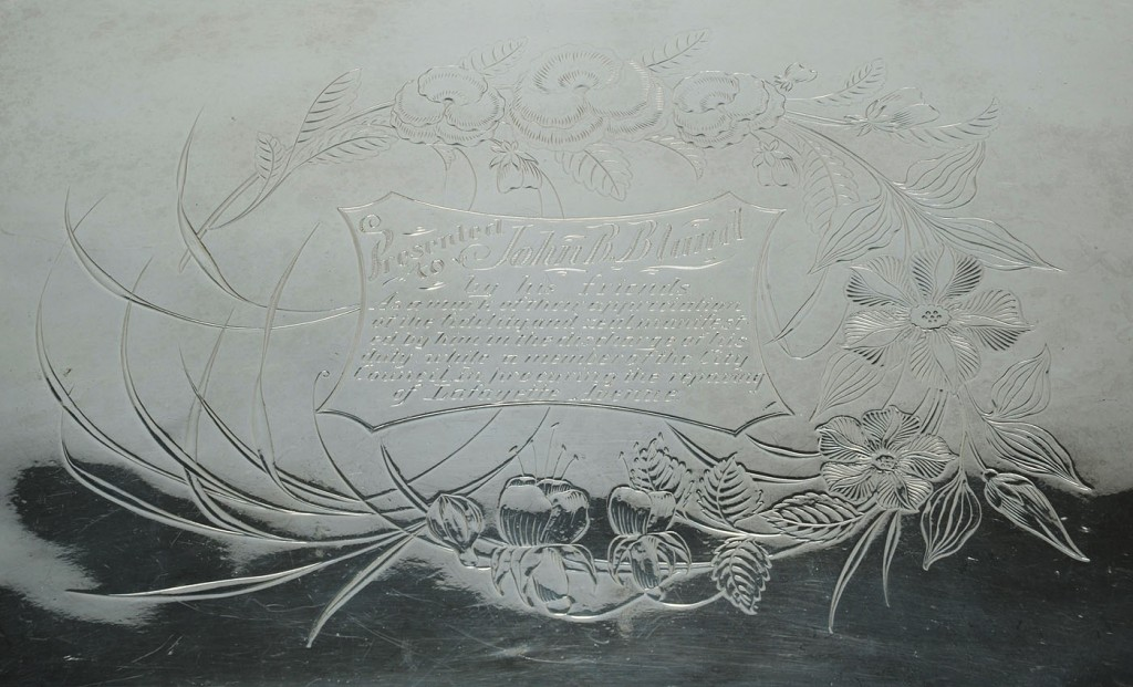 Lot 762: Large Victorian Silverplated Presentation Tray