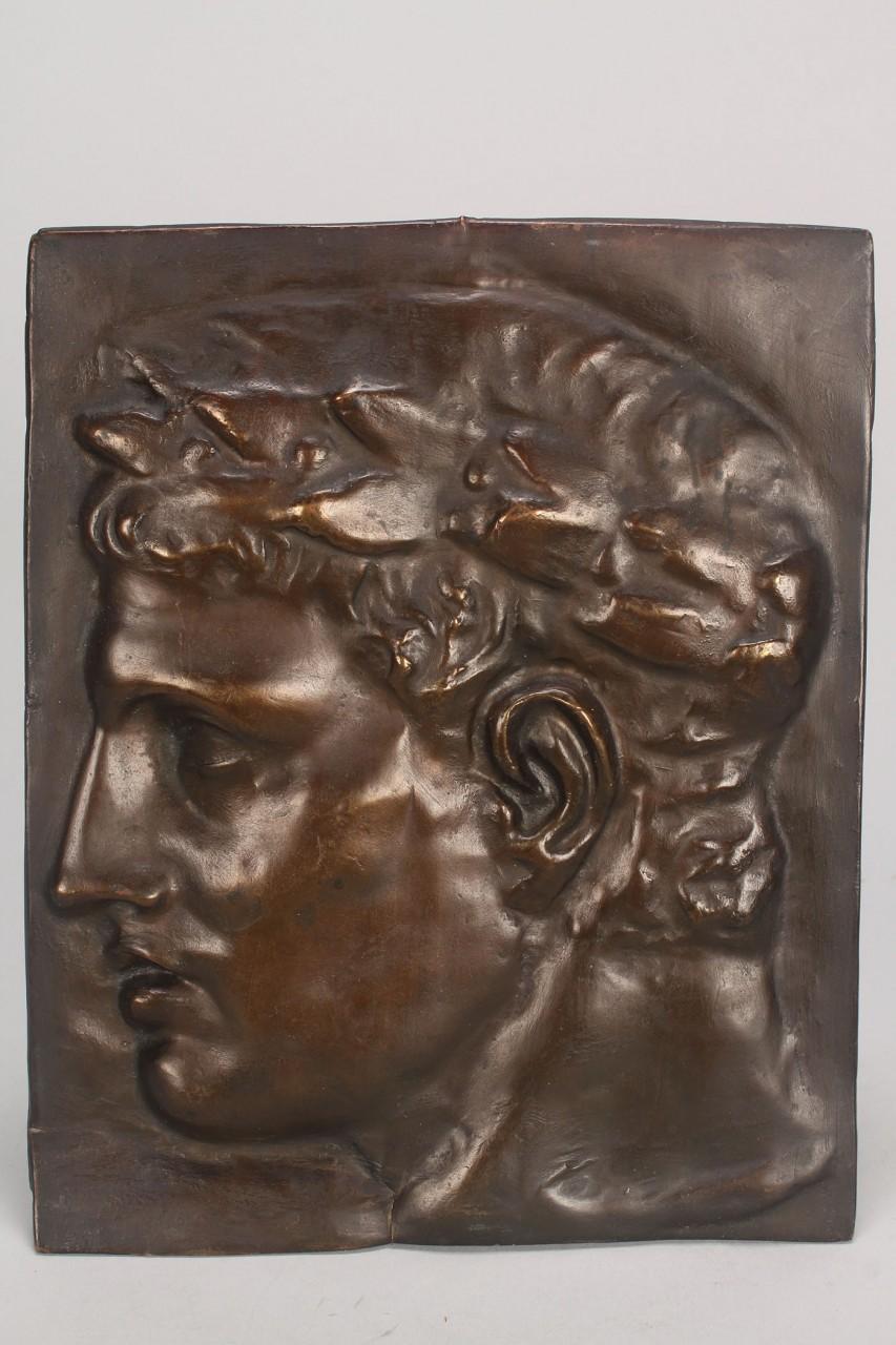 Lot 766: V.D. Brenner Bronze Portrait Plaque & Roman portra