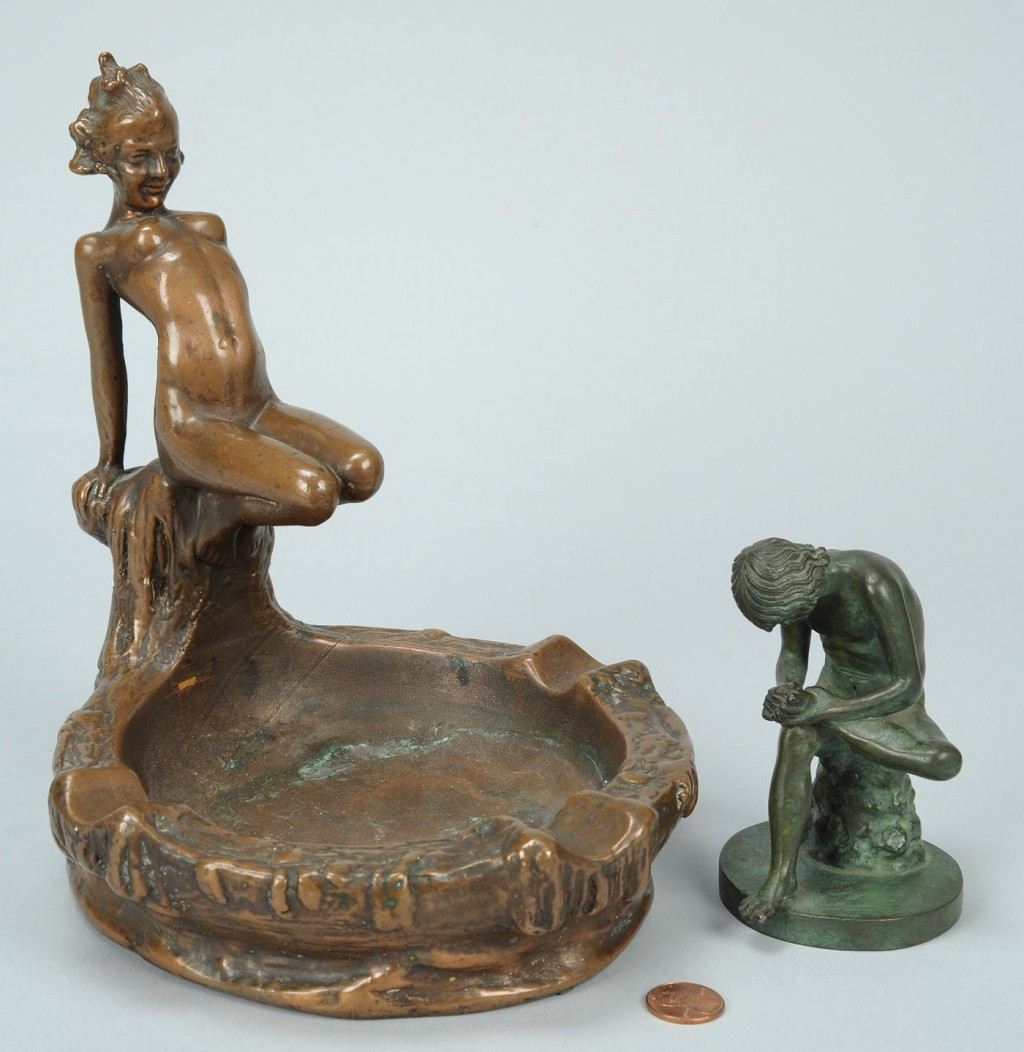 Lot 767: Two Small Sculptures, including Spinario & ashtray