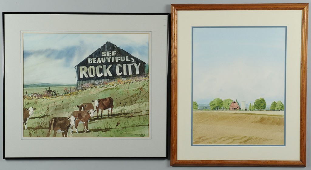 Lot 769: James Caulfield, TN farmstead watercolors