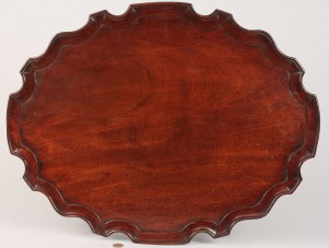 Lot 76: Chippendale mahogany pie crust tea tray