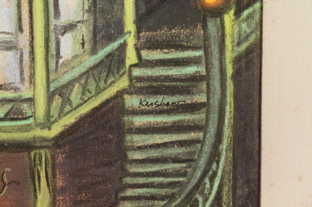Lot 770: Jack Kershaw, Girl in Old Nashville, pastel painti