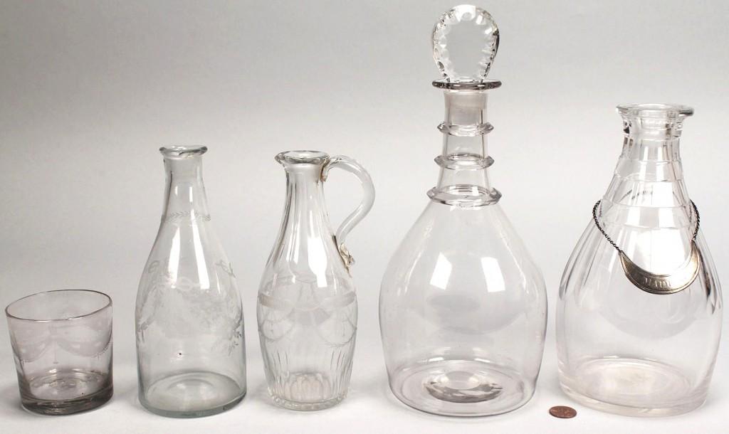 Lot 774: 5 Pcs Early Colorless Glass: Cruet, Decanters & Tu