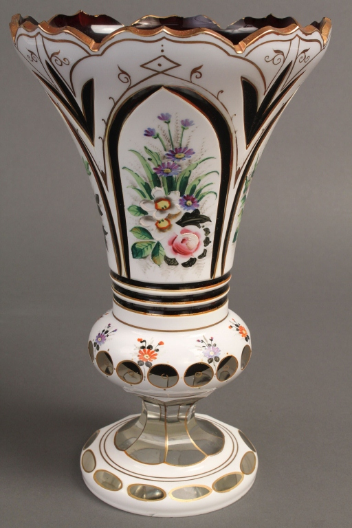 Lot 777: Pair of Bohemian Overlay Mantle Vases