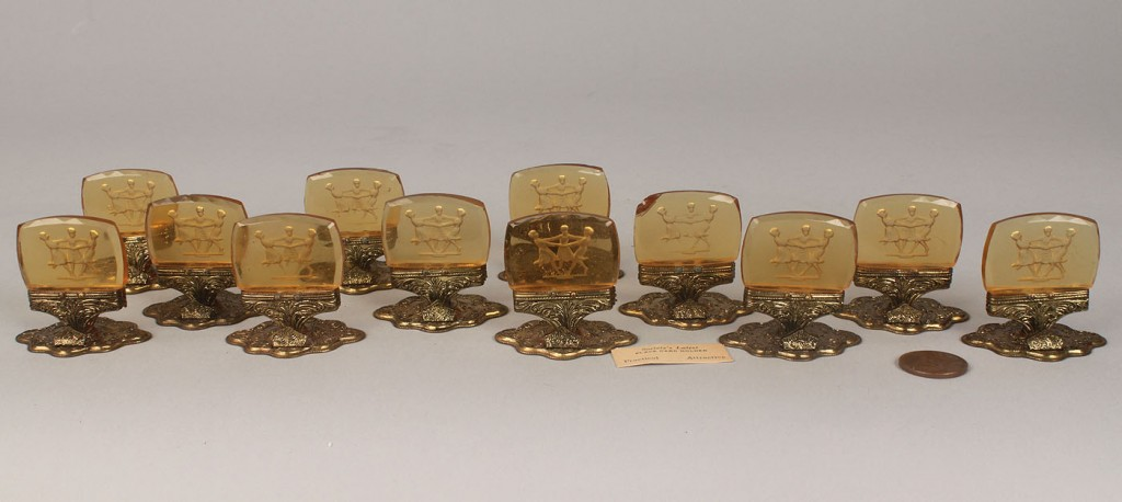 Lot 778: Czech Amber Glass Placecard Holders and Marble