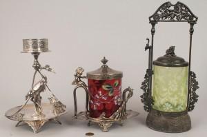 Lot 780: 2 Victorian S/P Pickle Castors and a Bride's Baske