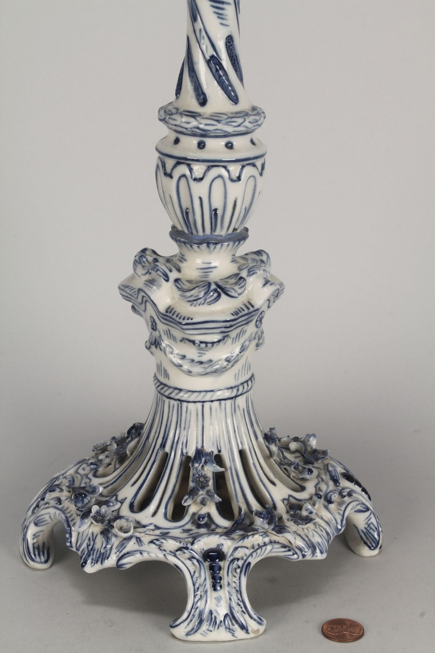 Lot 781: Meissen Style Blue and White Burner Lamp, 19th c.