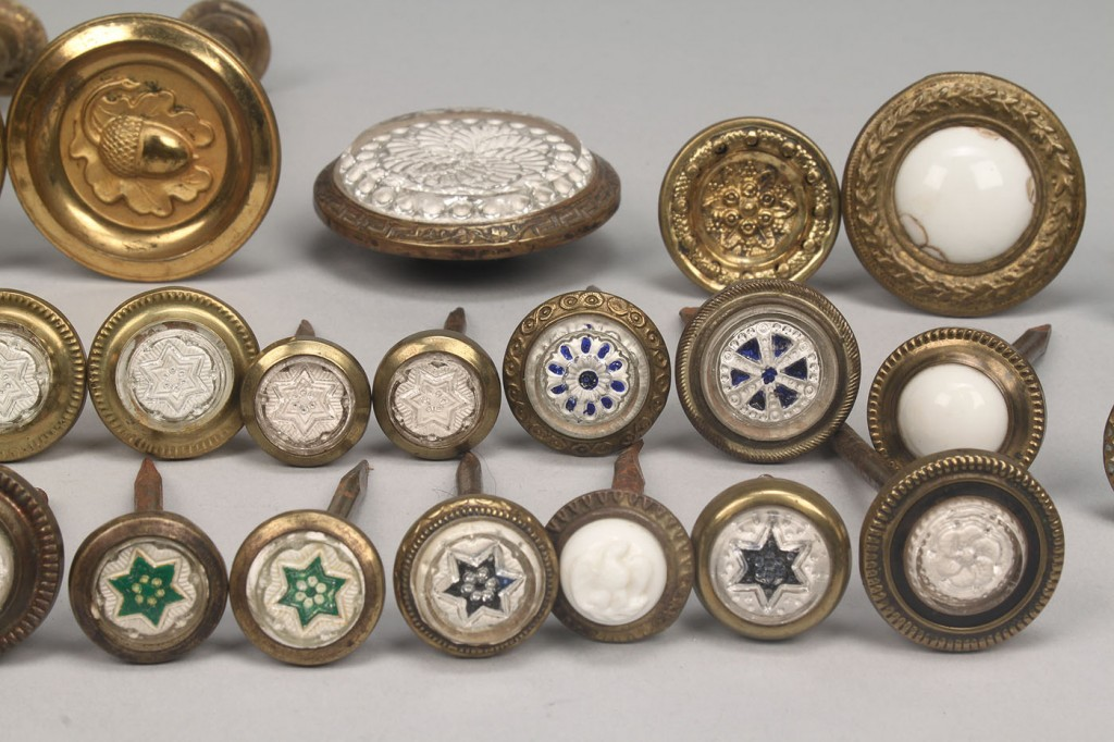 Lot 785: Large Lot of Sulfide and Brass Curtain Tiebacks