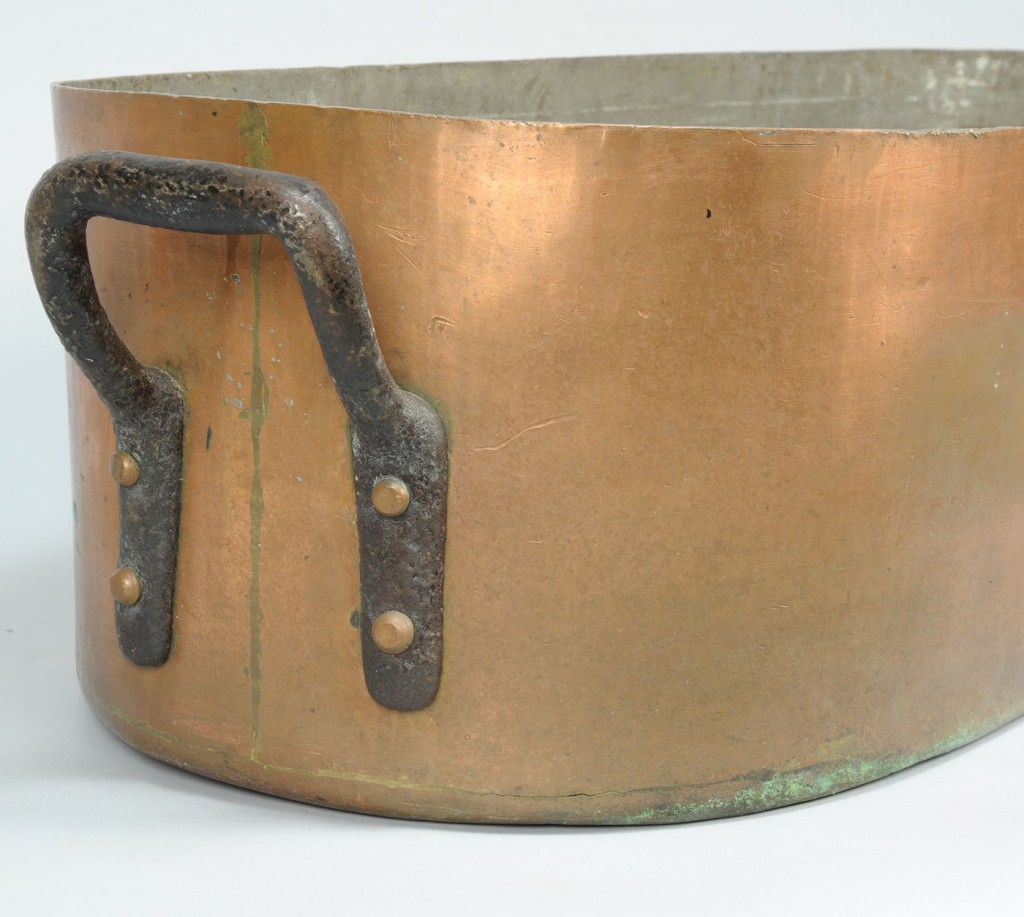 Lot 790: Copper Oval Cooker with Cast-iron Handles, Signed