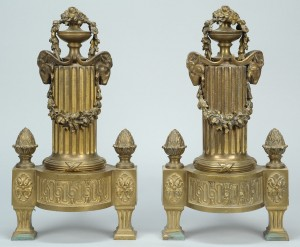 Lot 793: Pair of Gilt Brass Fireplace Chenets