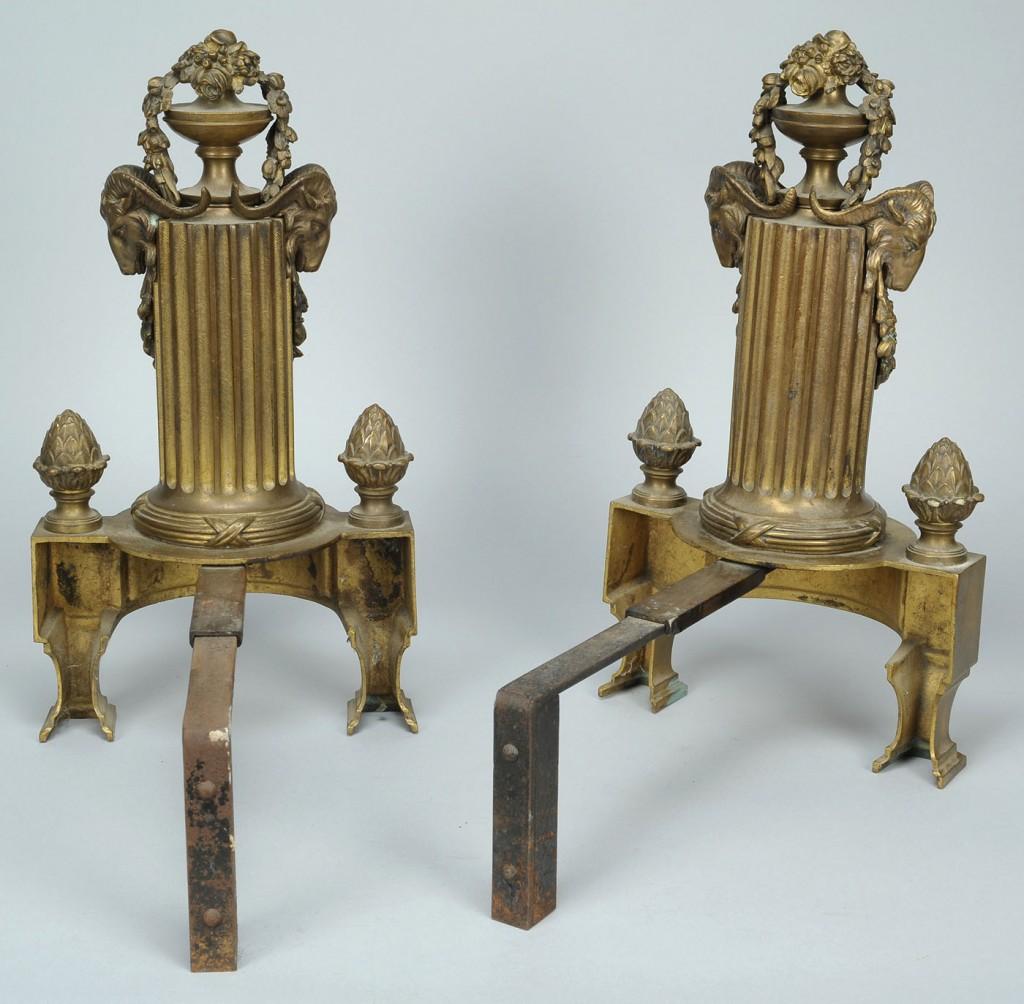 Lot 793: Pair of Gilt Brass Fireplace Chenets