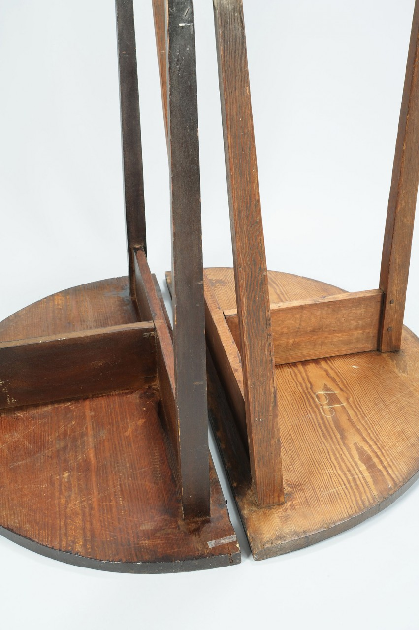 Lot 84: Southern Pair of Yellow Pine Half Round Tables, GA
