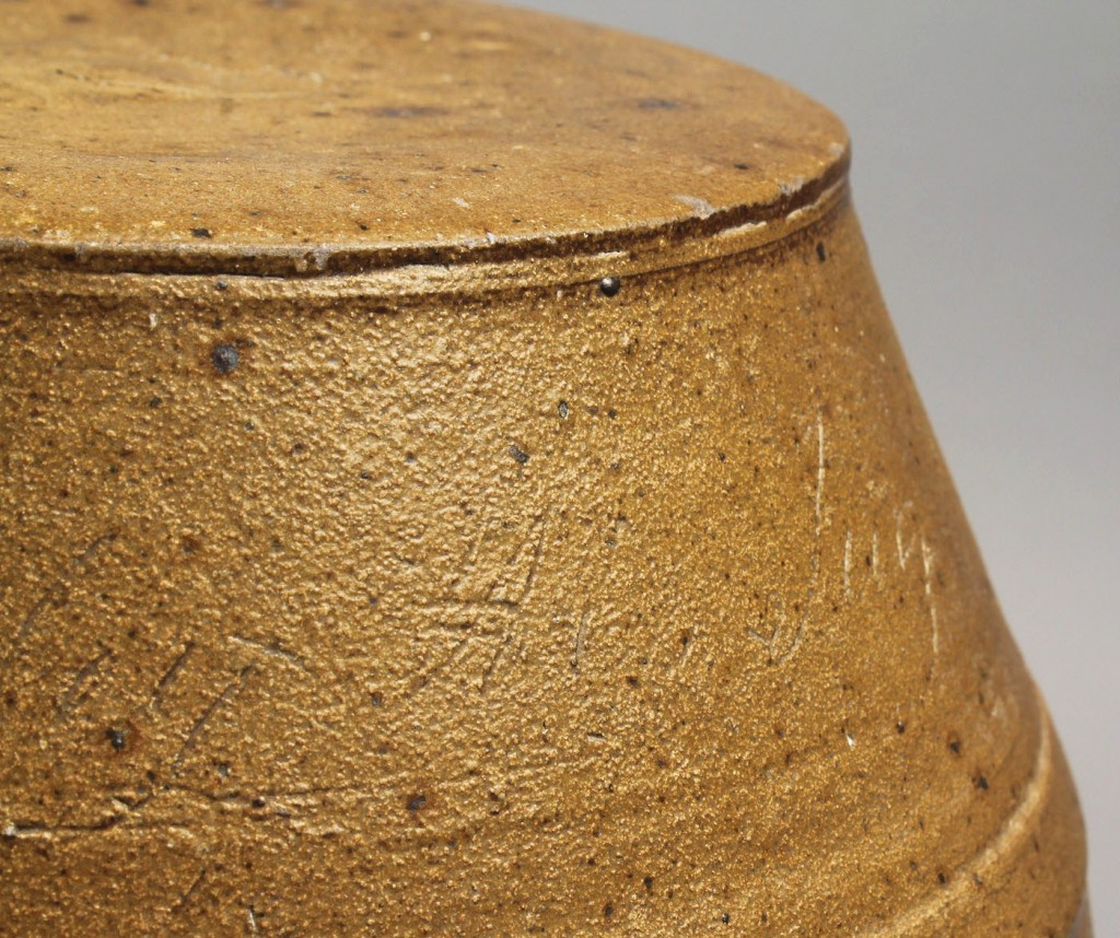 Lot 92: Rare Middle TN Pottery Rundlet,  J. Crawley, 1851