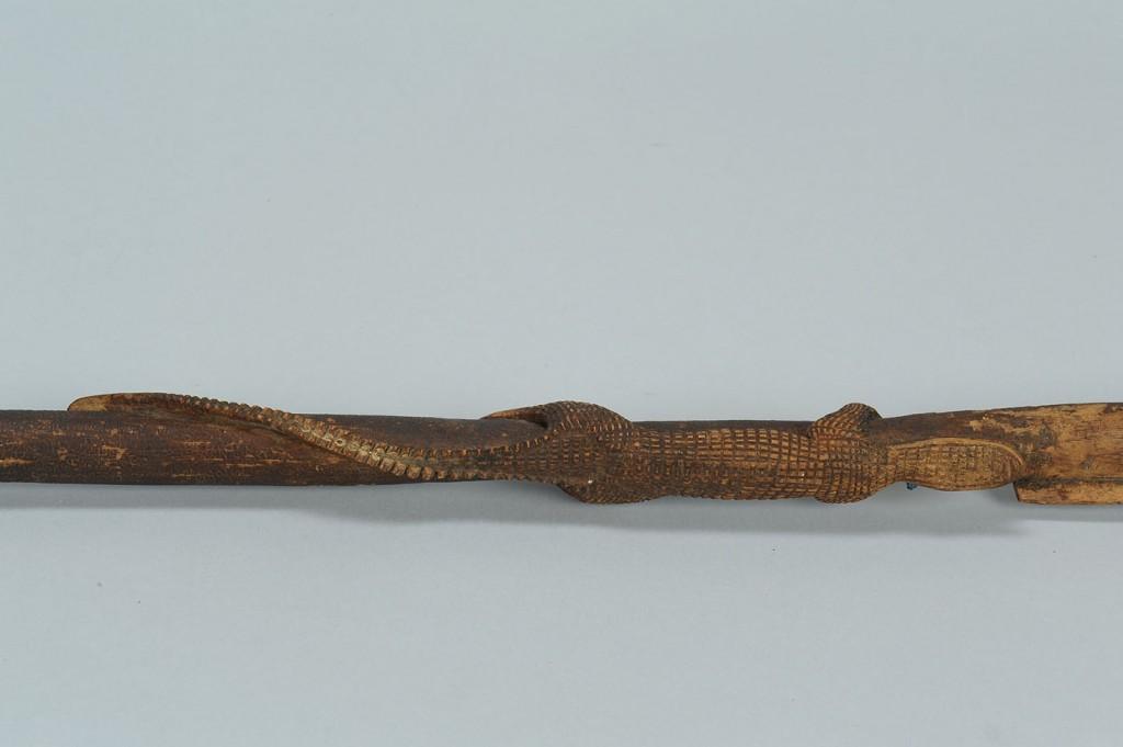 Lot 97: 2 Carved Folk Art Alligator Cane & Cane Handle