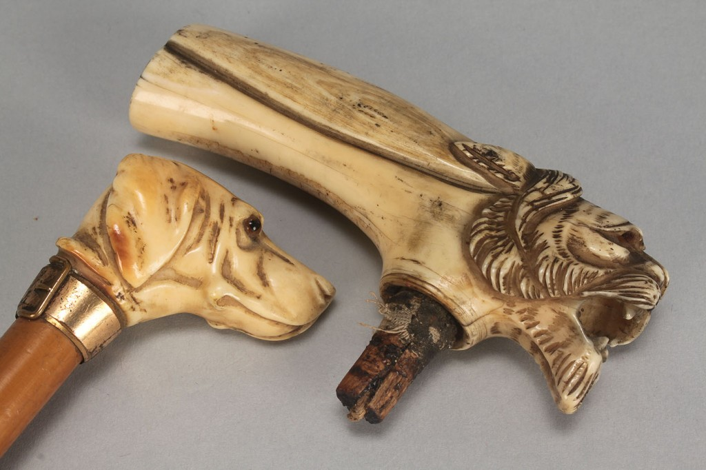 Lot 98: 4 Ivory Items: Letter openers, cane & umbrella han
