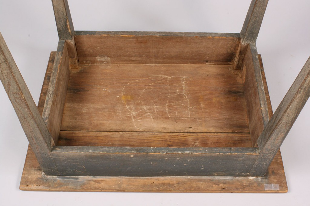 Lot 108: Southern Country Hepplewhite Table w/ Blue Paint