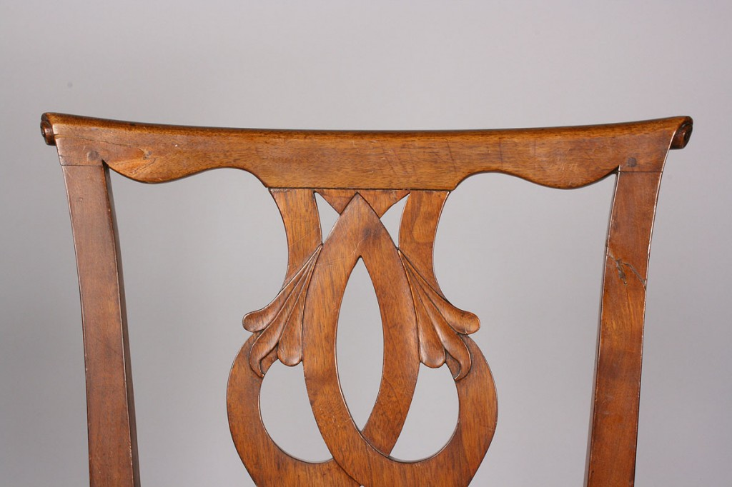 Lot 109: Pair of British  Chippendale Side Chairs w/ MESDA label