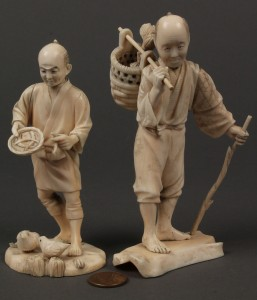 Lot 10: Two carved ivory Okimono figures, men with birds and basket