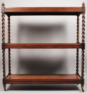 Lot 110: English Mahogany 3 tier server or trolley.