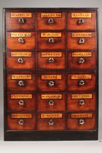 Lot 111: Apothecary Cabinet w/ Apothecary Items
