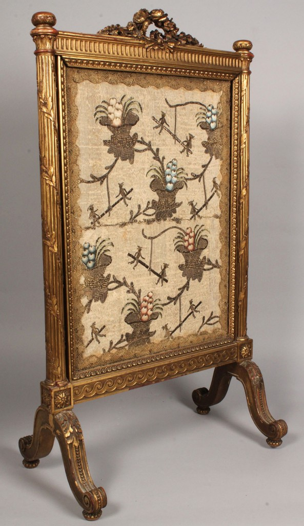 Lot 112: French Regency Gilt Carved Firescreen