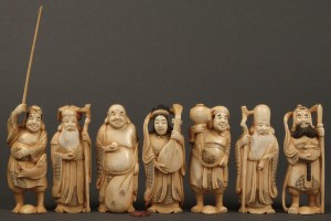 Lot 11: Boxed Set of 7 Ivory Asian Figures, Ivory