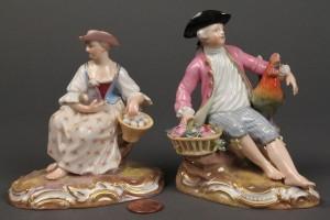Lot 120: Pair of Meissen Figurines