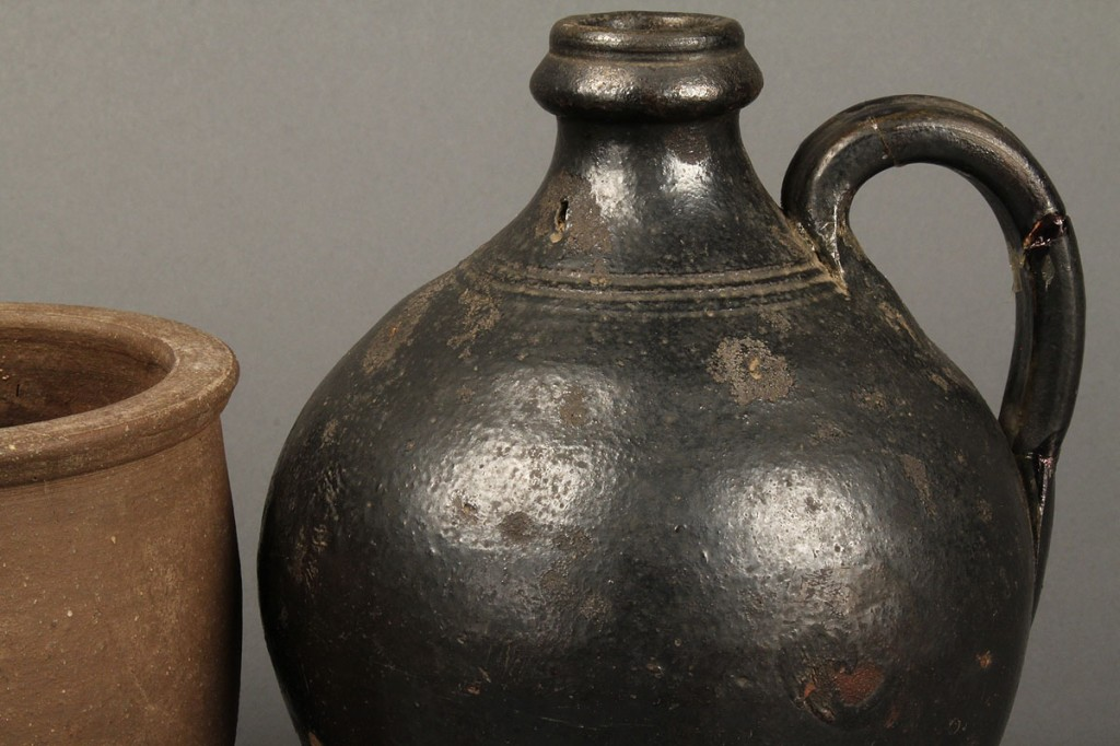 Lot 124: Tennessee redware jug and stoneware creampot
