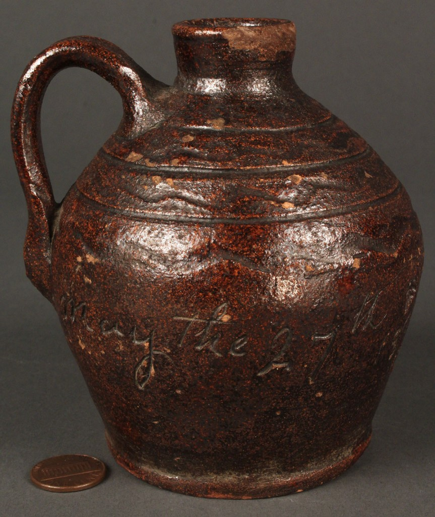 Lot 125: East TN Miniature Redware Jug, G. Mort