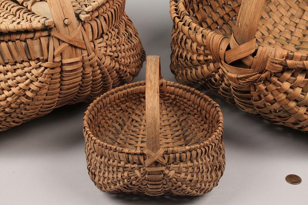 Lot 136: Three East TN split oak baskets, prob. Hawkins Co.