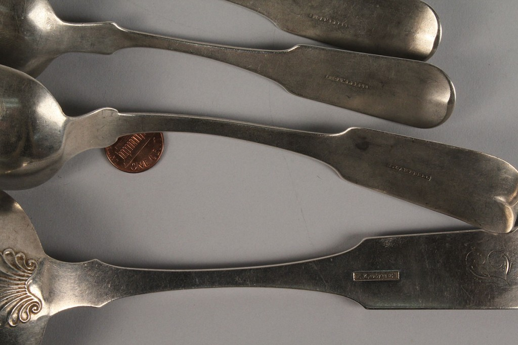 Lot 137: 3 TN Coin silver spoons & Lownes ladle, Foster-Cheatham family