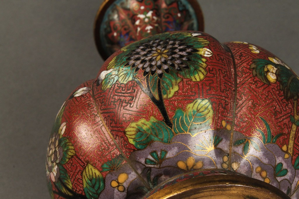 Lot 13: Pair of Japanese Cloisonne Lobed Vases
