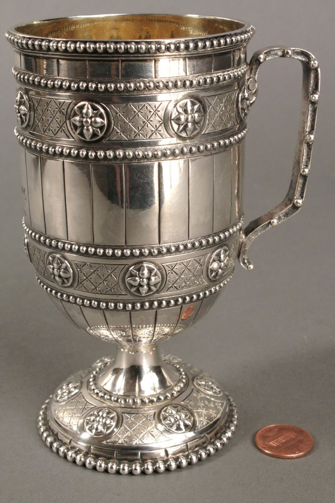 Lot 147: Victorian silver presentation cup, Robt. Hennell II