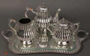Lot 148: Spanish silver 3-pc coffee service w/ tray