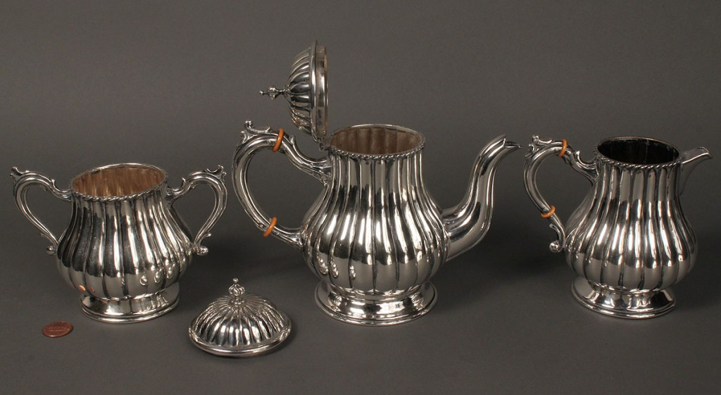 Lot 148: Spanish silver 3-pc coffee service w/ tray