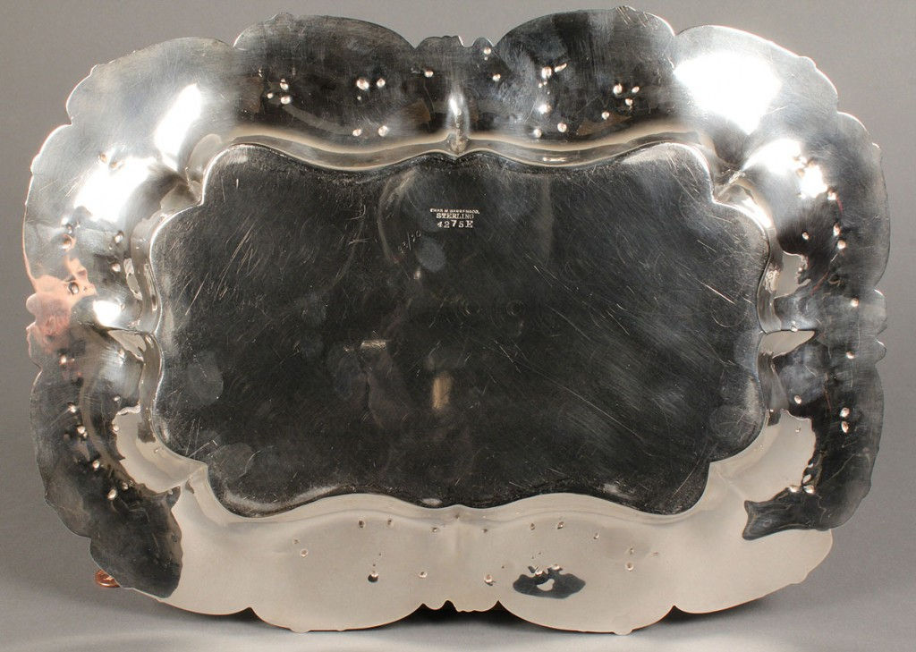 Lot 151: Sterling Silver Tray, Charles Warren retail mark