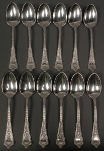 Lot 152: Tiffany Persian Pattern sterling teaspoons, 12 total