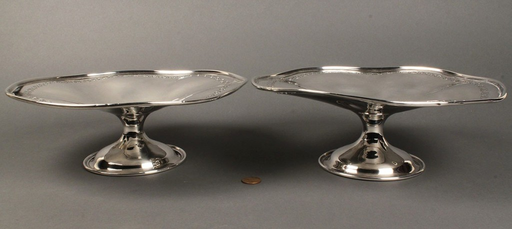 Lot 161: Pair of large Weidlich Sterling fruit compotes