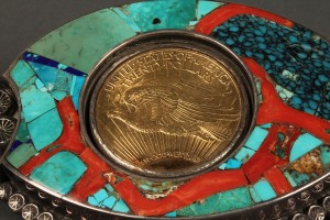 Lot 164: $20 Gold Piece Mounted in Navajo Belt Buckle - Image 1