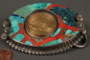 Lot 164: $20 Gold Piece Mounted in Navajo Belt Buckle - Image 2