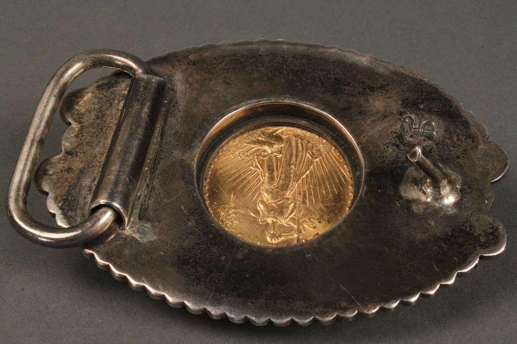 Lot 164: $20 Gold Piece Mounted in Navajo Belt Buckle