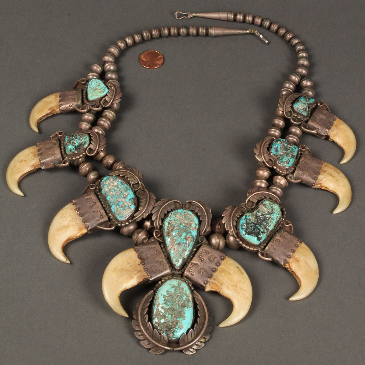 Lot 165 native american silver and turquoise claw necklace for How to make american indian jewelry