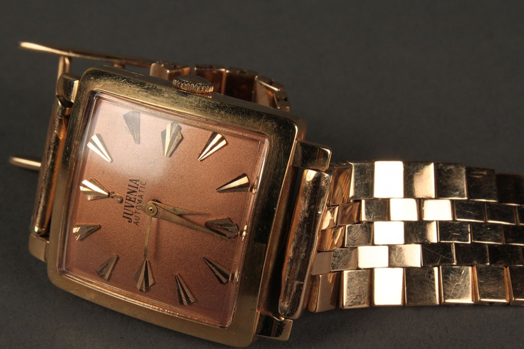 Lot 167: Men's Juvenia 14K & 18K pink gold watch