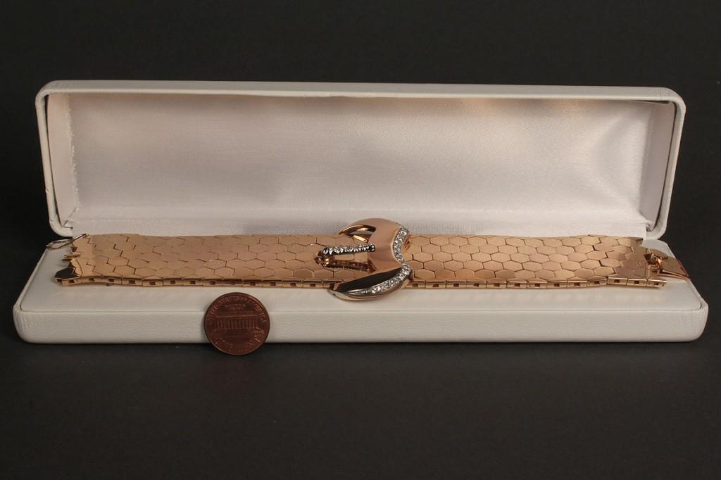 Lot 168: 18K Rose Gold & Dia Buckle Bracelet, 132.8 grams