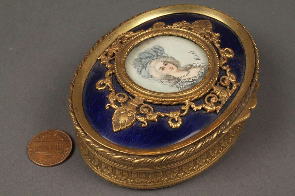 Lot 179: French enamel and gilt bronze portrait box