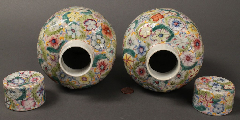 Lot 17: Pair of Chinese Lidded Jars, possibly Republic