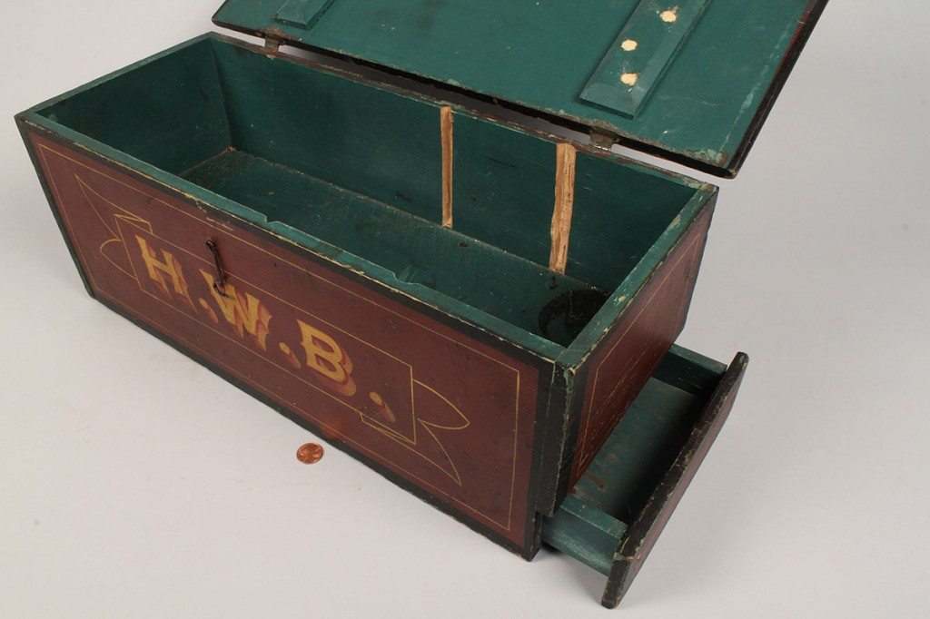 Lot 181: Paint and Stencil Decorated Storage Box