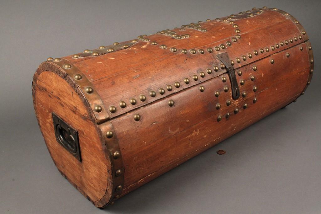 Lot 182: Folk art studded barrel box